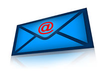 Email. Blue envelope illustration over white background Royalty Free Stock Images