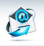 Email. A paper mailing envelope with the @ (at) sign in it, circled by a blue arrow. Theme: email stock illustration