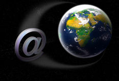 Email. 3d email symbol orbiting planet earth concept Royalty Free Stock Image
