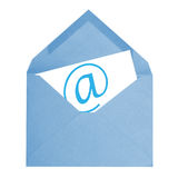 Email. A blue email envelope is isolated on a white background