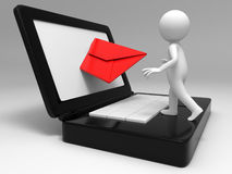Email. A man in receiving the E-mail Royalty Free Stock Photo