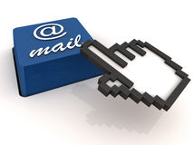 Email. Easy access email button in blue, white background, mouse hand cursor clicking the button Stock Images