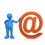 Email. 3d person standing next to the @ symbol Royalty Free Stock Photo