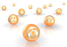 Email 3D. Email symbols on individual balls resembling pearls, formed into a triangular shape.  Isolated on a white background Royalty Free Stock Photography