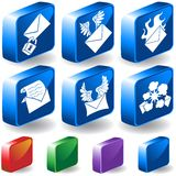 Email 3D Button Set. Set of 6 3D Email Buttons Stock Photography