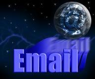 Email 3D con el globo y las estrellas de la tierra Imagen de archivo libre de regalías