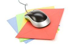 Email. Envelope and computer mouse, concept of email Royalty Free Stock Photo