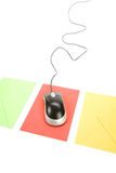 Email. Envelope and computer mouse, concept of email Royalty Free Stock Image