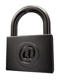 Email account. Padlock with email symbol on white background - 3d illustration Stock Photo