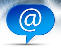Email address icon blue bubble background. Email address icon isolated on blue bubble background vector illustration