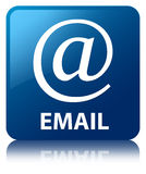 Email (address icon) blue square button Stock Images