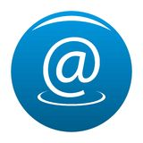 Email address icon blue vector. Email address icon vector blue circle isolated on white background Stock Images