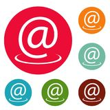 Email address icons circle set vector. Isolated on white background Royalty Free Stock Image
