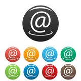 Email address icons set. Simple set of email address icons in different colors isolated on white stock illustration