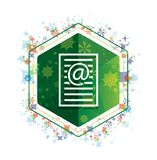 Email address page icon floral plants pattern green hexagon button. Email address page icon isolated on floral plants pattern green hexagon button vector illustration