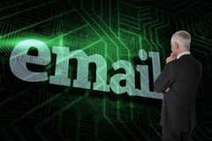 Email against green and black circuit board Royalty Free Stock Photo