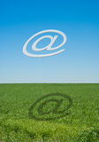 Email alias. Above green field vector illustration