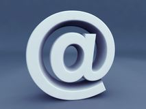 Email Alias Symbol. 3d Email Alias symbol in blue background color Royalty Free Stock Images