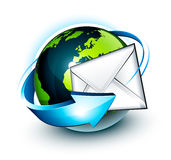 Email alrededor del globo del mundo