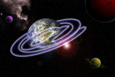 Email around the world. Email symbol ring around planet earth Stock Images