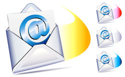 @ email arriving concept. Email sent and arriving concept with open envelope Royalty Free Stock Photography