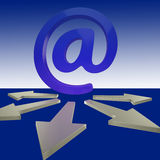 Email Arrows Shows Mailout Sent To Clients Royalty Free Stock Photo