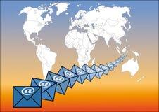 Email autour du monde Photographie stock libre de droits