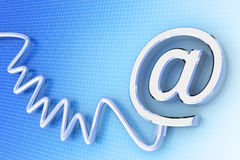 Email background. E-mail sign connected with a cable. Hi-res digitally generated image Royalty Free Stock Photos