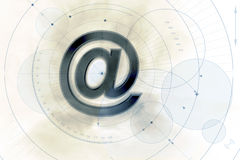Email background. An illustrated email background with a 3D '@' sign at the center Royalty Free Stock Images