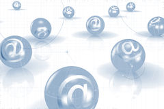 Email Balls Background. An abstract illustrated email background with a 3D balls with '@' sign on them Stock Images