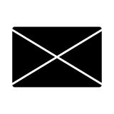 Email black isolated icon over white background. Stock Photos
