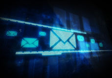 Email. On blue digital background. Digitally generated image Stock Photos