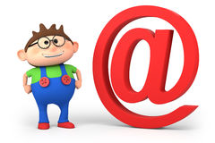 Email boy. Cute cartoon boy with (at) symbol - high quality 3d illustration Royalty Free Stock Photos