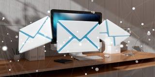 Email branco e azul que voa sobre a rendição do desktop 3D Imagem de Stock