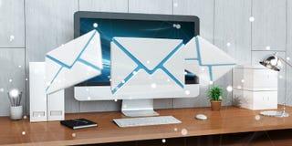 Email branco e azul que voa sobre a rendição do desktop 3D Imagens de Stock