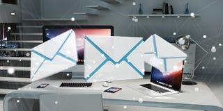 Email branco e azul que voa sobre a rendição do desktop 3D Fotos de Stock