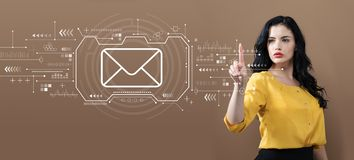 Email with business woman. On a brown background royalty free stock image