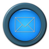 Email button. Three dimensional illustration of round button with email symbol, isolated on white background Stock Photo