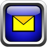Email button. Computer generated email glass and metal button Stock Image