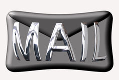 Email button. Mail writeen in chrome over a matt netal enveope Royalty Free Stock Photography