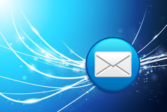 Email Button on Blue Abstract Light Background Royalty Free Stock Image