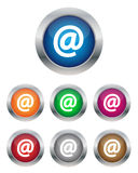 Email buttons. Collection of email buttons in various colors Royalty Free Stock Photo