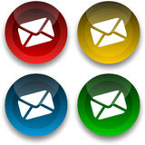 Email Buttons. Colored email icons for use as a contact button Royalty Free Stock Image