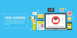 Email campaign, marketing, promotion, newsletter, subscription concept. Flat design marketing vector banner. Email campaign strategy development, businessman Stock Photos