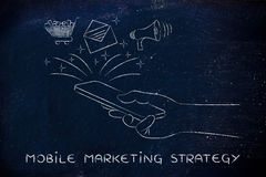 Email, cart & loudspeaker coming out of a smartphone, Mobile Mkt. Mobile marketing strategy: smartphone with email, shopping cart & megaphone coming out of Royalty Free Stock Photo