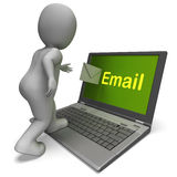 Email Character On Laptop Shows Contact Mailing Or Correspondenc Stock Photos