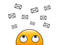 Email character person looking at incoming email flying to him through envelopes. Receiving messages. Inbox Newsletter vector. Illustration with transparent Stock Images