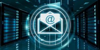 Email che sorvolano la rappresentazione del centro dati 3D della stanza del server Fotografie Stock