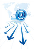 Email communication. E-mail icon, blue arrow,global communication Royalty Free Stock Photos