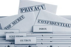 Email Communication. Symbol for modern email communication and data privacy Stock Photo